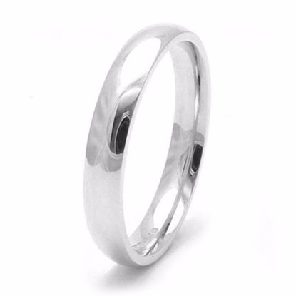 Picture of Sterling Silver 3mm Heavy Court Shape Rhodium plated Wedding Ring