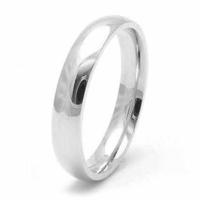 Picture of Sterling Silver 4mm Heavy Court Shape Rhodium plated Wedding Ring