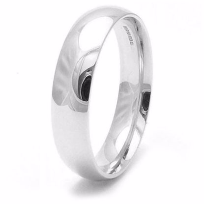 Picture of Sterling Silver Heavy Court Shape 5mm Rhodium plated Wedding Ring