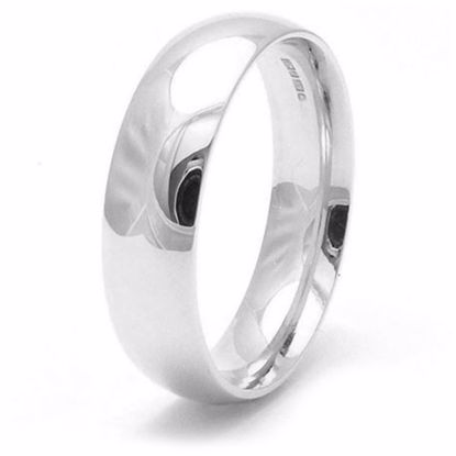 Picture of Sterling Silver 6mm Heavy Court Shape Rhodium plated Wedding Ring