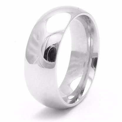Picture of Sterling Silver 8mm Heavy Court Shape Rhodium plated Wedding Ring
