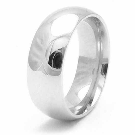 Picture of Sterling Silver Heavy Court Shape 8mm Rhodium plated Wedding Ring