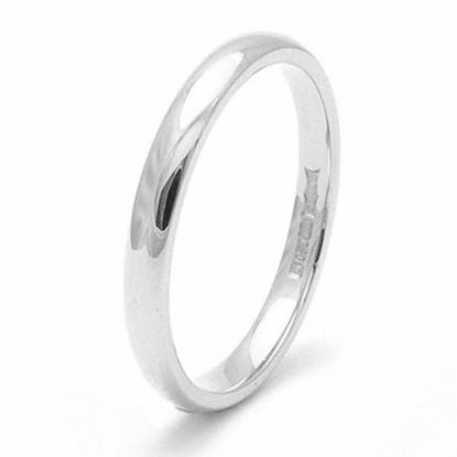 Picture of Sterling Silver 2mm Heavy D Shape Rhodium plated Wedding Ring