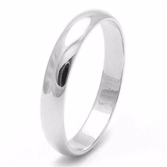 Picture of Sterling Silver 3mm Heavy D Shape Rhodium plated Wedding Ring