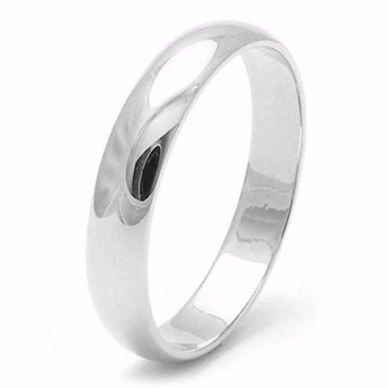 Picture of Sterling Silver 4mm Heavy D Shape Rhodium plated Wedding Ring