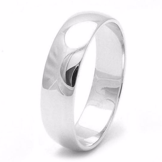 Picture of Sterling Silver Heavy D Shape 5mm Rhodium plated Wedding Ring