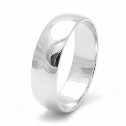 Picture of Sterling Silver 6mm Heavy D Shape Rhodium plated Wedding Ring