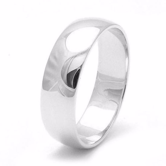 Picture of Sterling Silver Heavy D Shape 6mm Rhodium plated Wedding Ring