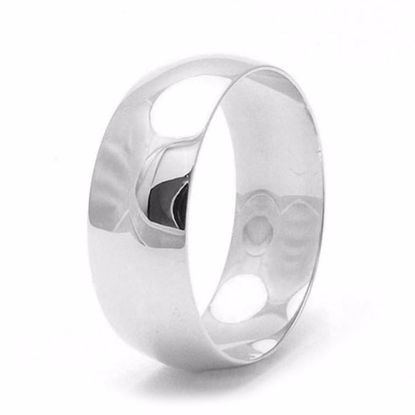 Picture of Sterling Silver 8mm Heavy D Shape Rhodium plated Wedding Ring