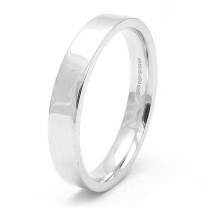 Picture of Sterling Silver 4mm Heavy Easy Fit, Rhodium plated Wedding Ring