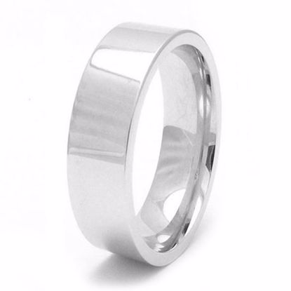 Picture of Sterling Silver Heavy Easy Fit 6mm Rhodium plated Wedding Ring