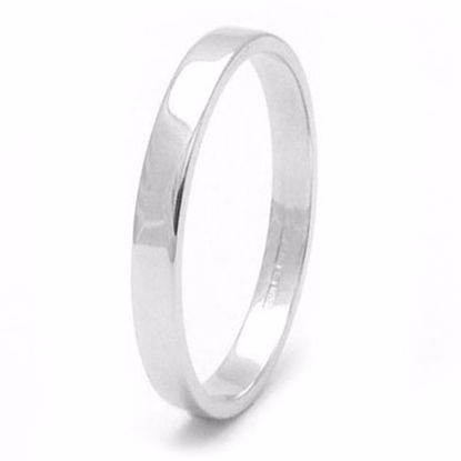 Picture of Sterling Silver 2mm Heavy Flat Shape Rhodium plated Wedding Ring