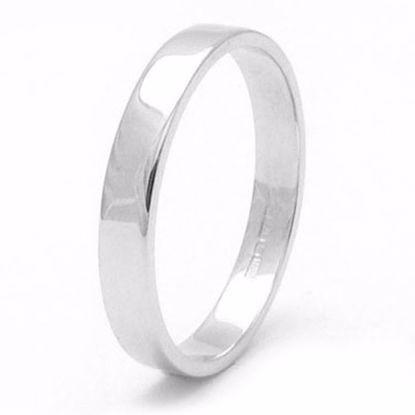 Picture of Sterling Silver 3mm Heavy Flat Shape Rhodium plated Wedding Ring