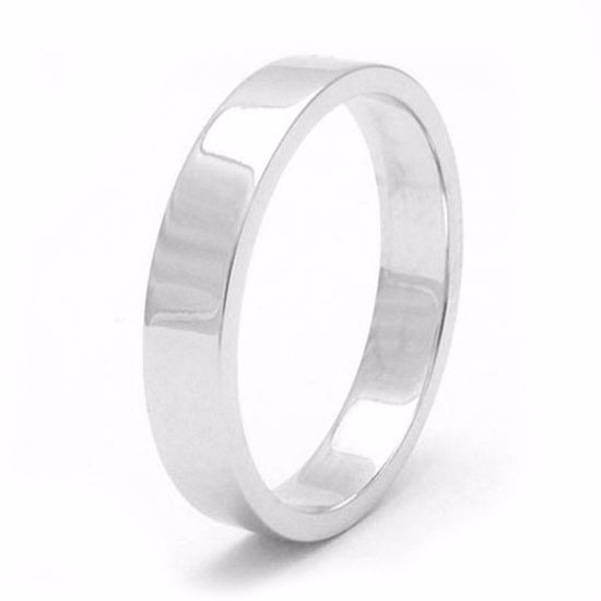 Picture of Sterling Silver Heavy Flat Shape 4mm Rhodium plated Wedding Ring