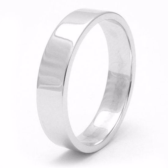Picture of Sterling Silver 5mm Heavy Flat Shape Rhodium plated Wedding Ring