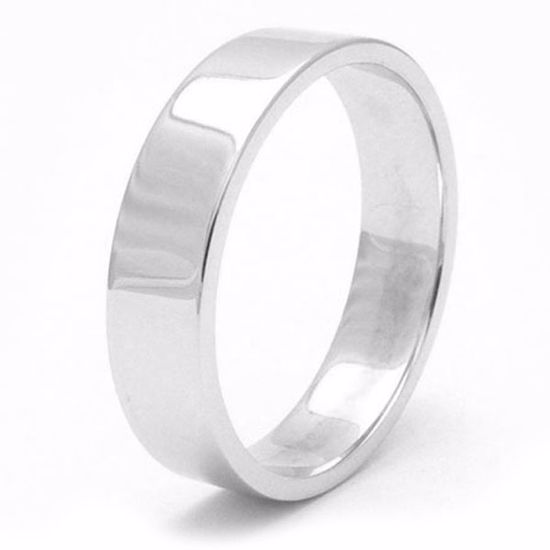 Picture of Sterling Silver 6mm Heavy Flat Shape Rhodium plated Wedding Ring