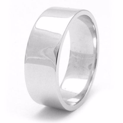 Picture of Sterling Silver Heavy Flat Shape 8mm Rhodium plated Wedding Ring