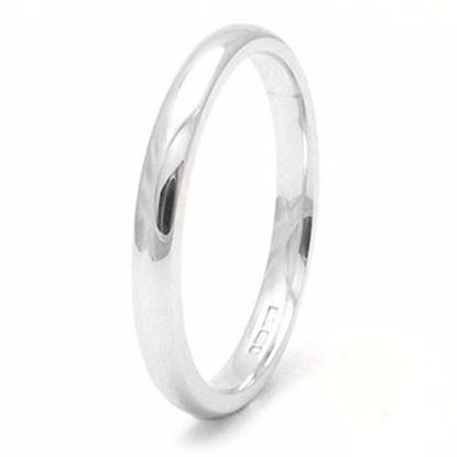 Picture of Sterling Silver 2mm Heavy Court Shape Rhodium plated Wedding Ring