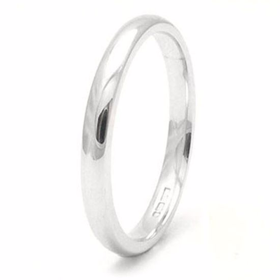 Picture of Sterling Silver Heavy Court Shape 2mm Rhodium plated Wedding Ring