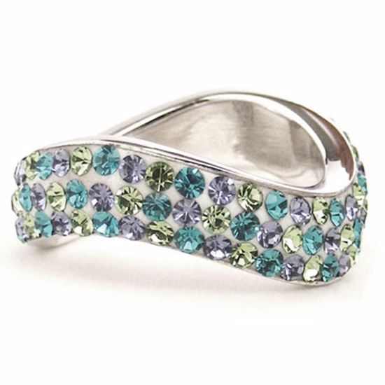 Picture of Sterling Silver Multi Colour Wave Shape Band Ring