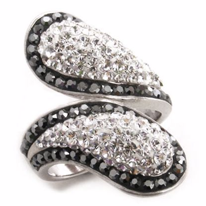 Picture of Beaufitul silver sterling cluster ring with white & black CZ stones
