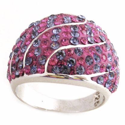 Picture of Beautiful Silver Sterling Ring with Purple and Pink CZ Stones