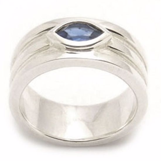Picture of Sterling Silver Ladies' Ring with Marquise shape Blue Spinal CZ stone