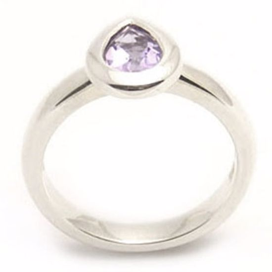 Picture of Sterling Silver Ladies' Ring with Pear shape Amethyst CZ stone