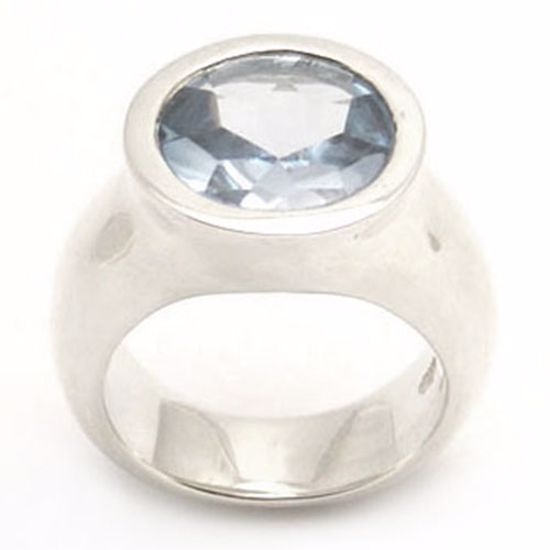 Picture of Sterling Silver Ladies' Ring with Round shape Aquamarine CZ stone