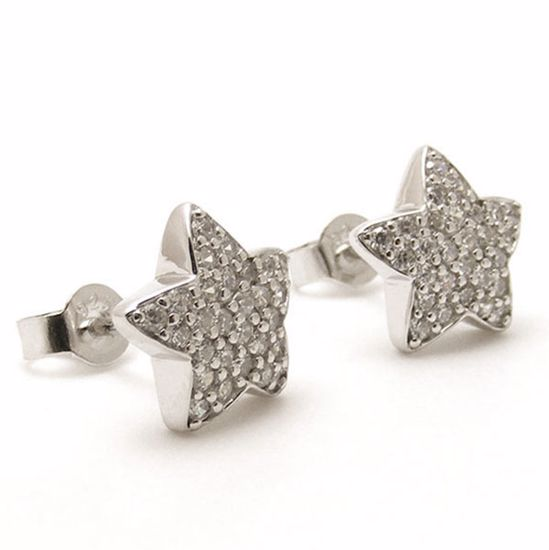 Picture of Sterling Silver Star Shape Cluster White CZ Studs Earrings