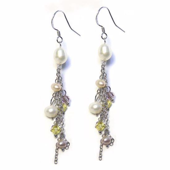 Picture of Sterling Silver Earrings with Pearl and Cystals Beads Drops