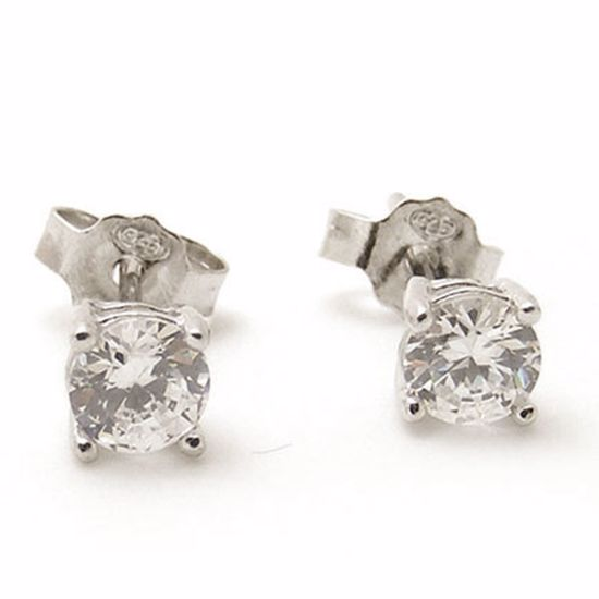 Picture Of Sterling Silver Round Shape White Cz Studs Earringss