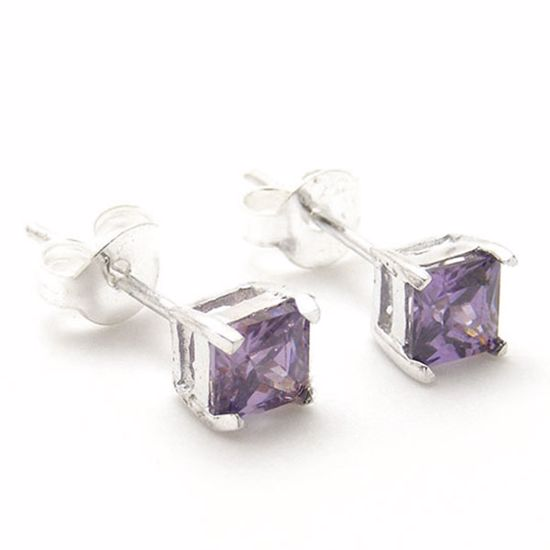 Picture of Sterling Silver Studs Earrings set with Square Purple CZ stones