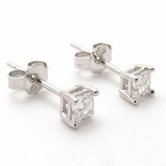 Picture Of Sterling Silver Square Shape White Cz Studs Earringss