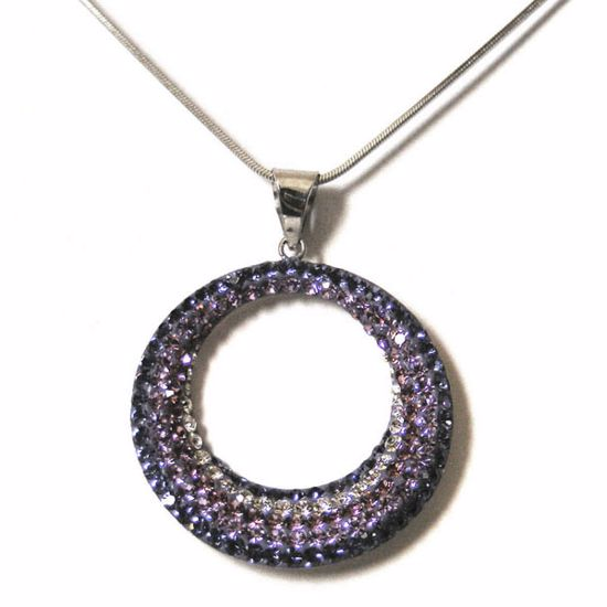 Picture of Amazing Light & Dark Purple CZ Sterling Silver Pendant with Chain