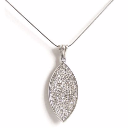 Picture of Contemporary Marquise Shape Silver White CZ Pendant with Chain