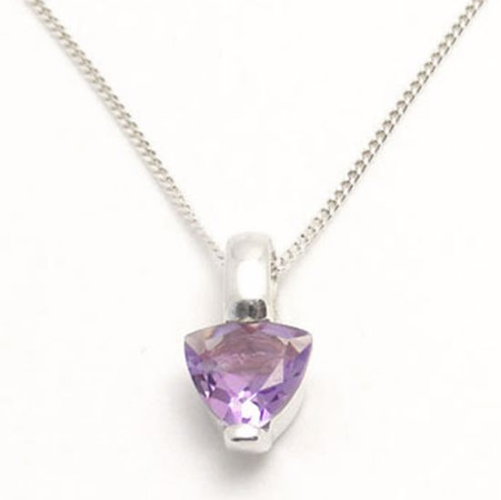 Picture of Silver Pendant bezel set with Heart shape Amethyst CZ stone