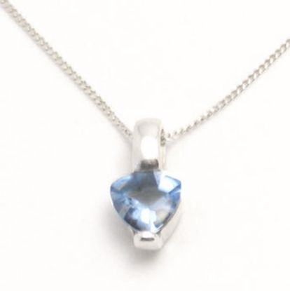 Picture of Silver Pendant bezel set with Heart shape Blue Topaz CZ stone