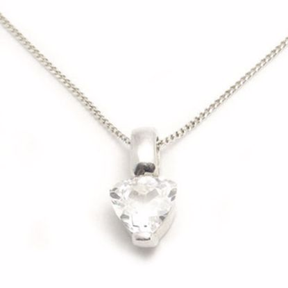 Picture of Silver Pendant bezel set with Heart shape White CZ stone