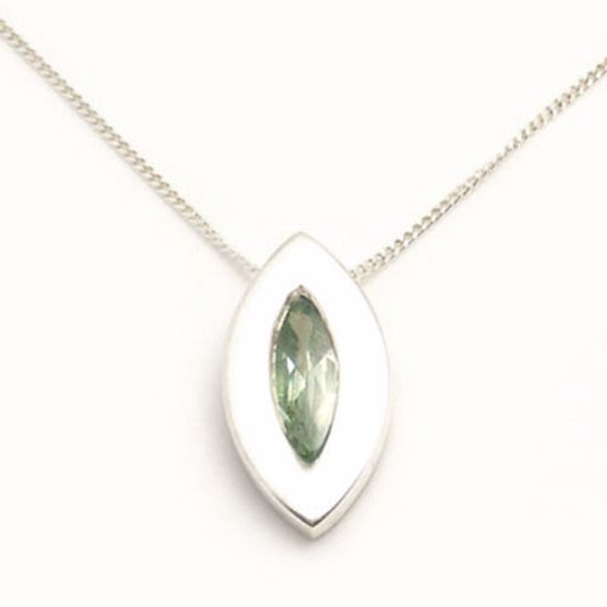 Picture of Silver Pendant bezel set with Marquise shape Green CZ stone
