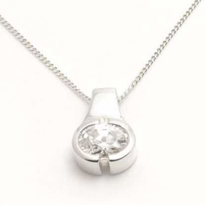 Picture of Silver Pendant bezel set with oval shape White CZ stone