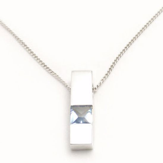 Picture of Silver Pendant channel set with square shape Blue Topaz CZ stone