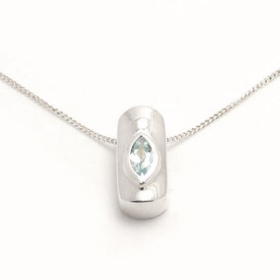 Picture of Silver Pendant set with marquise shape Aquamarine CZ
