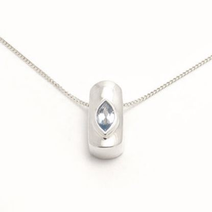 Picture of Silver Pendant set with marquise shape Blue Topaz CZ
