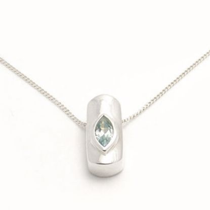 Picture of Silver Pendant set with marquise shape Green Aquamarine CZ