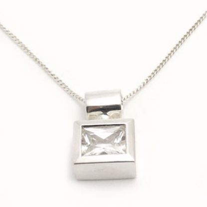 Picture of Silver Square Pendant bezel set with Square shape White CZ stone