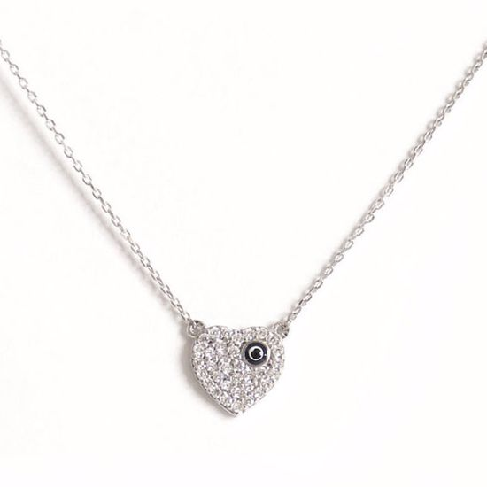 Picture of Stunning Heart Shape Sterling Silver Pendant in White CZ with Chain
