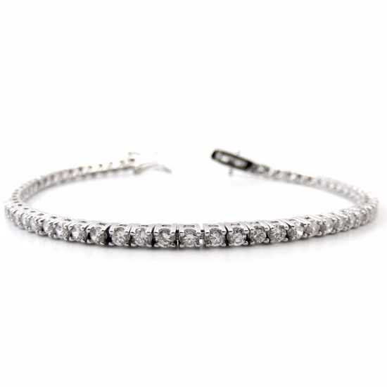 Picture of Sterling Silver Tennis Bracelet Round Clear CZ stones 7.5 inch