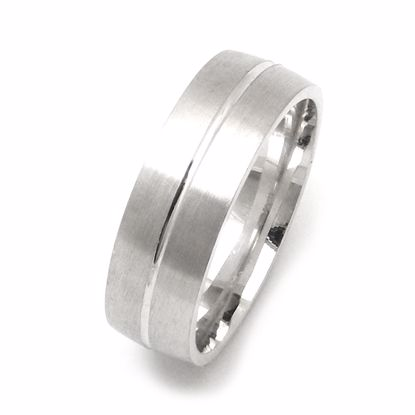 Picture of Men's Sterling Silver Wedding Ring 6mm Polish Groove on Satin Finish Surface Pattern