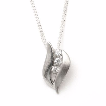 Picture of Leaf Shaped White Cubic Zircon Pendant in Sterling Silver
